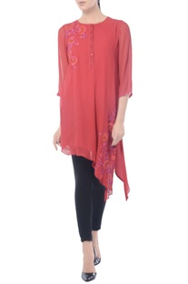 Mulberry asymmetric embroidered tunic