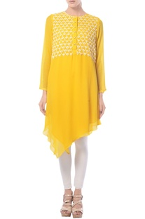 Mango yellow asymmetric embroidered tunic
