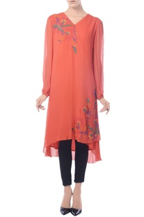 Bight red embroidered overlapping tunic