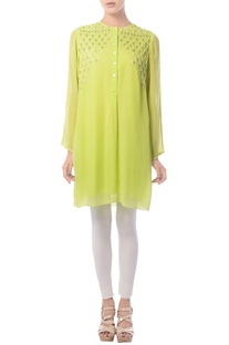 Lime hand embroidered tunic
