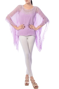 Lavender kaftan top with embroidered neckline