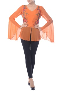 Tangerine embroidered top with bell sleeves