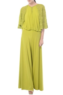 Lemon green aztec embroidered jumpsuit