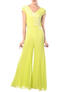 Lime yellow embroidered jumpsuit