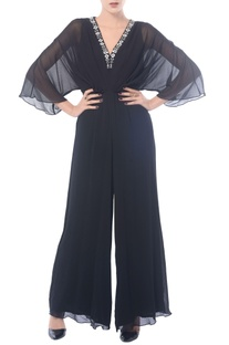 Black embroidered wing sleeved jumpsuit