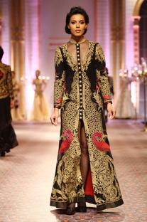 Black gold embroidered long jacket