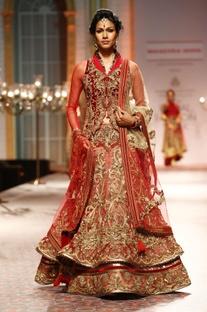 Red floral zardosi embellished lehenga set