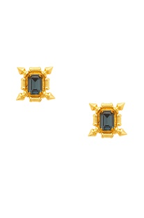 Gold plated earrings with midnight blue stones