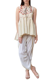 Cream embroidered jacket top with dhoti pants