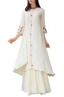 Cream thread embroidered kurta with skirt