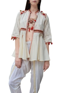 Cream floral thread embroidered flared jacket