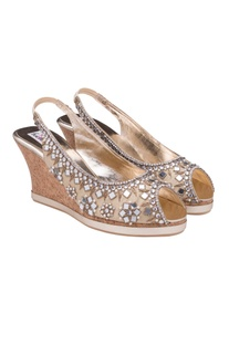 Golden mirror embellished peep toes