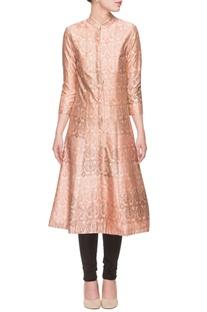 Pink front slit printed kurta