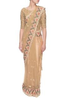 Beige thread work sari with blouse
