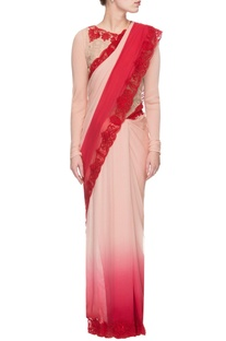 Pink & red ombre shaded sari