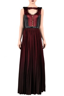 Wine & black bird embellished maxi dress