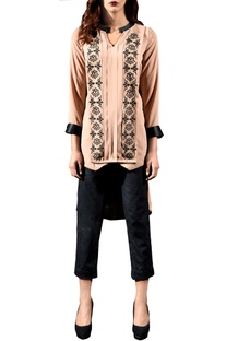 Beige layered embellished tunic