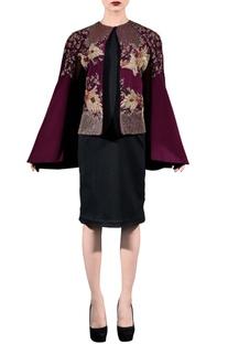 Wine embellished cape