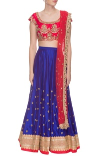 Red & blue zardosi work lehenga set