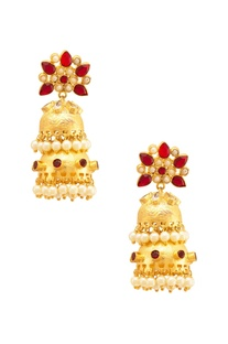 Gold & red floral jhumkas