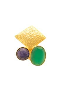 Gold, green & blue ring