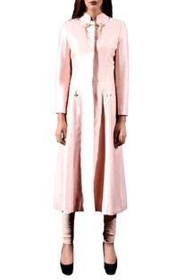 Seashell pink jacket with churidar