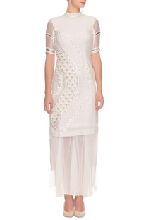 Ivory floral embroidered kurta with sharara