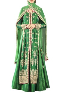Green zardozi work lehenga set