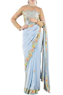 Sky blue resham work sari with a blouse