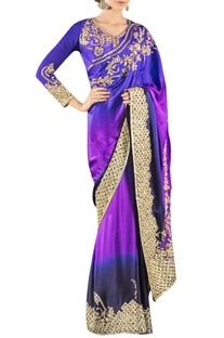 Royal blue & purple embroidered sari with blouse