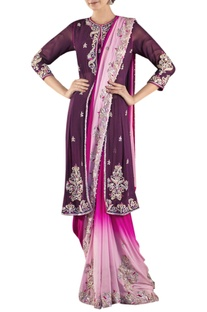 Wine & pink shaded sari with jacket & blouse