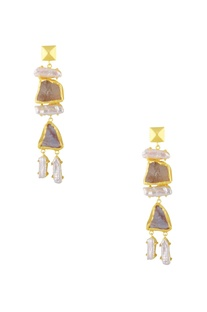 White enamel finish drop earrings