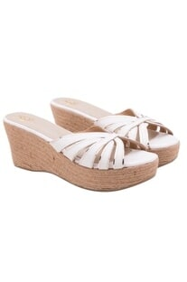 White slip ons with jute wedges
