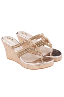 Antique gold strappy wedges