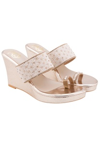 White wedges with pearl embellishments