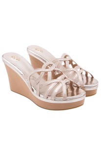 Pale pink high heel strappy wedges