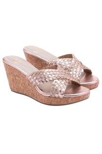 Metallic pink slip on wedges