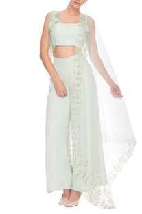 Misty blue crop top and palazzo with a short netted jacket and dupatta