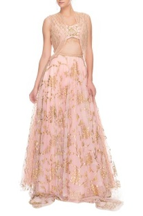 Pink embroidered crop top and lehenga with jacket