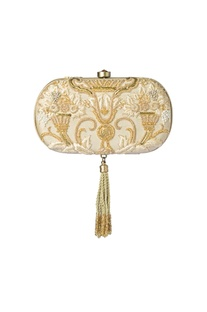 Cream & gold zardosi work clutch