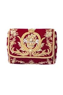 Maroon & gold zardosi embroidered clutch
