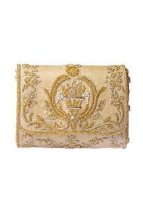 Beige & gold zardosi embroidered clutch