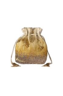 Gold bead embellished potli clutch