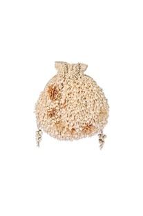 Beige pearl and bead embellished potli