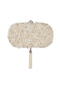 Ivory clutch with white pearl work
