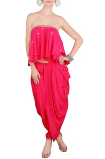 Pink embroidered tube and dhoti pants
