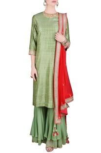 Green & orange printed sequin embroidered kurta set