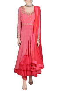 Candy pink ankle length anarkali set