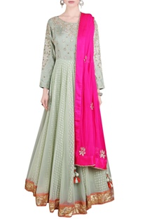 Olive floral sequined anarkali with pink dupatta