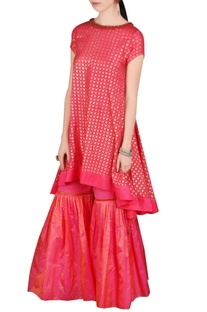 Red printed kurta & gharara